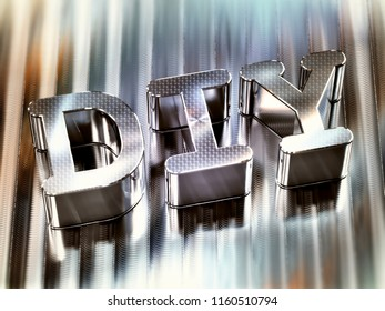 DIY 3d word machined on aluminium surface - do it yourself concept. 3d illustration