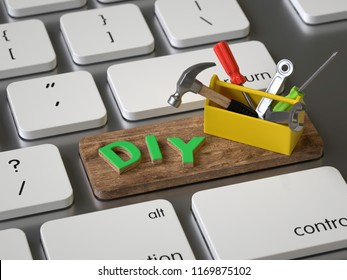 diy key on the keyboard, 3d rendering,conceptual image