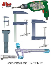 DIY objects and tools: hammer, pliers, drill, vernier caliper, spanner, ruler, sergeant, tape measure, drill, gouge, screw, balance