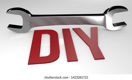 DIY title concept illustration. 3D render illustration.