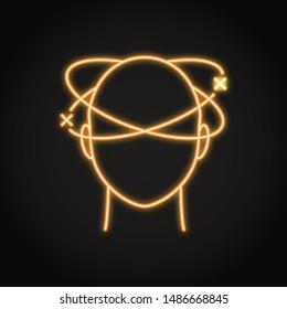 Dizziness icon in neon line style. Vertigo concept symbol. Medical illustration.