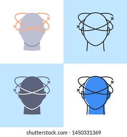 Dizziness icon set in flat and line styles. Vertigo concept symbol. Medical illustration.