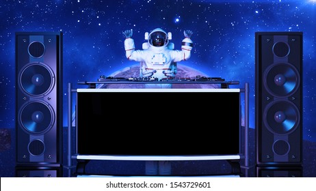 DJ astronaut, disc jockey spaceman with hands up playing music on turntables, cosmonaut on stage with deejay audio equipment, front view, 3D rendering