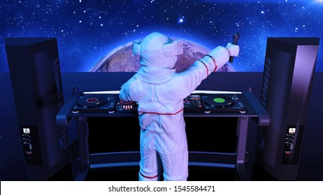 DJ astronaut, disc jockey spaceman with microphone playing music on turntables, cosmonaut on stage with deejay audio equipment, back view, 3D rendering