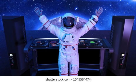 DJ astronaut, disc jockey spaceman playing music on turntables, cosmonaut on stage with deejay audio equipment, rear view, 3D rendering