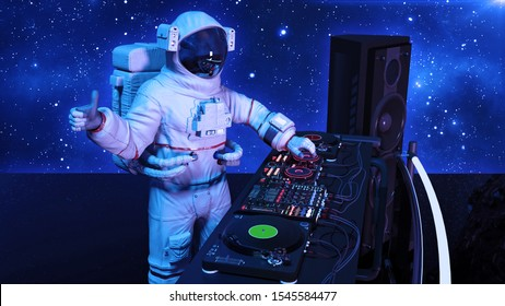 DJ astronaut, disc jockey spaceman with thumbs up playing music on turntables, cosmonaut on stage with deejay audio equipment, side view, 3D rendering