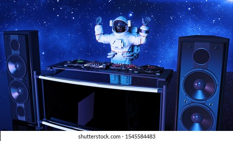 DJ astronaut, disc jockey spaceman with hands up playing music on turntables, cosmonaut on stage with deejay audio equipment, side view, 3D rendering