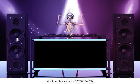 DJ Bones, human skeleton with hands up playing music on turntables, skeleton with disc jockey audio equipment, front view, 3D rendering