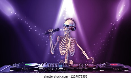 DJ Bones, human skeleton with microphone playing music on turntables, skeleton with disc jockey audio equipment, front view, 3D rendering