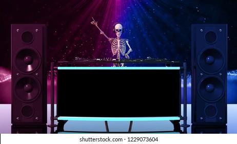 DJ Bones, human skeleton playing music on turntables, skeleton with disc jockey sound equipment, front view, 3D rendering