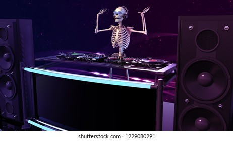 DJ Bones, human skeleton playing music on turntables, skeleton on stage with disc jockey audio equipment, 3D rendering