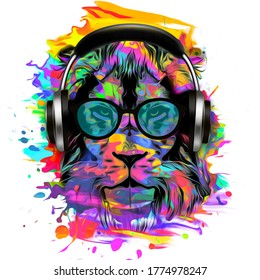 dj lion art with headphones