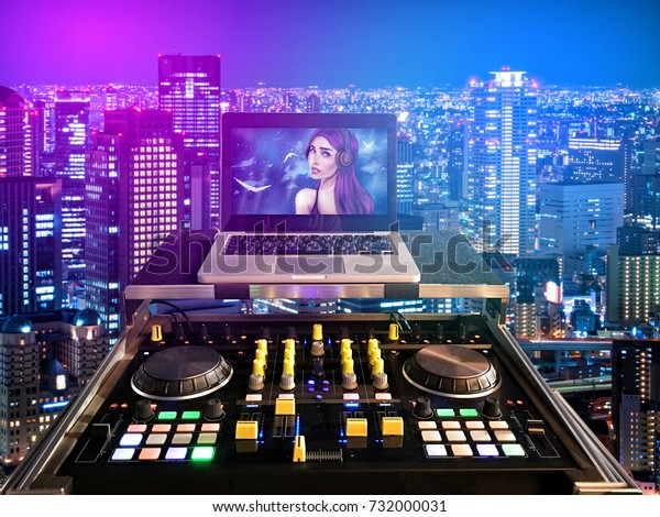 Dj Machine Mixer Laptop Picture Woman Stock Illustration