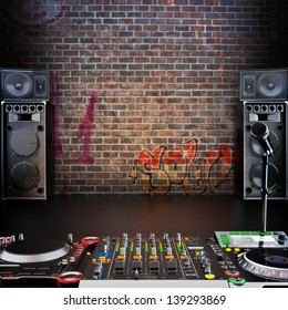Dj R&B, Rap,Pop music background with Microphone, speakers and Dj equipment. Room for text or copy space