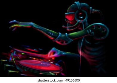 DJ Robot By The Turntable