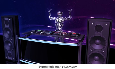 DJ Robot, disc jockey cyborg with hands up playing music on turntables, android on stage with deejay audio equipment, side view, 3D rendering