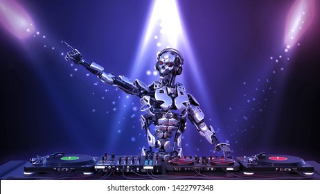 DJ Robot, disc jockey cyborg holding microphone and playing music on turntables, android on stage with deejay audio equipment, 3D rendering