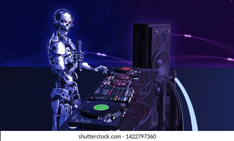 DJ Robot, disc jockey cyborg with microphone playing music on turntables, android on stage with deejay audio equipment, side view, 3D rendering