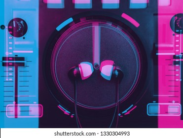 DJ sound mixer illustration with 3d stereo effect.Professional djs stage audio equipment edited with vintage anaglyph filter in neon blue,magenta color.Disc jockey mixing controller on nightclub party
