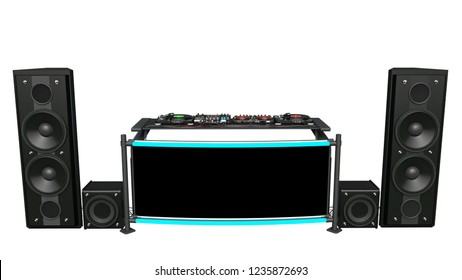 DJ turntables with speakers, sound mixers and audio recording equipment, disc jockey music instruments isolated on white background, front view, 3D rendering