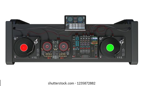 DJ turntables stand with sound mixers and recording audio equipment, disc jockey music instruments isolated on white background, top view, 3D rendering