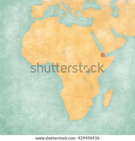 Djibouti On Africa Map.Djibouti Djiboutian Flag On Map Africa Stock Illustration Royalty