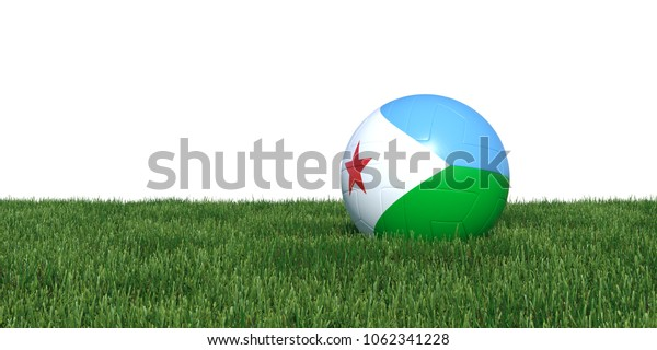 Djibouti Djiboutian flag soccer ball lying in grass, isolated on white background. 3D Rendering, Illustration.