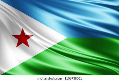 Djibouti flag of silk-3D illustration