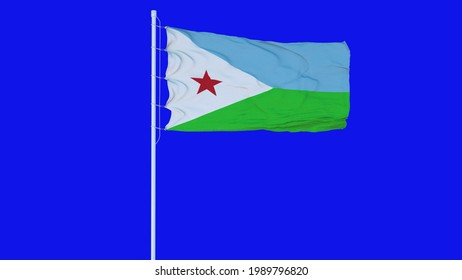 Djibouti flag waving on wind on blue screen or chroma key background. 3d rendering.