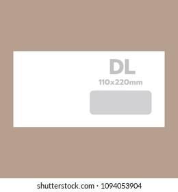 Dl envelope mockup. Realistic illustration of dl envelope mockup for web design