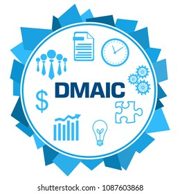 DMAIC - Define Measure Analyse Improve Control concept image with text over blue background.