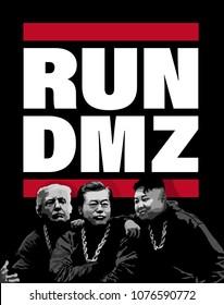 DMZ, KOREA, 1 May 2018 - Kim Jong Un agrees to meet Donald Trump at DMZ.  Illustration for Korean Peninsula peace summit talks between Kim Jong Un and Moon Jae In and Donald Trump.