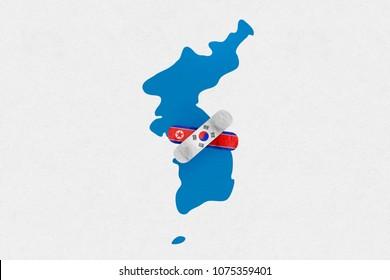 DMZ, KOREA, 23 April 2018 - Illustration for 2018 Inter Korean Peace Summit between Kim Jong Un and Moon Jae In.