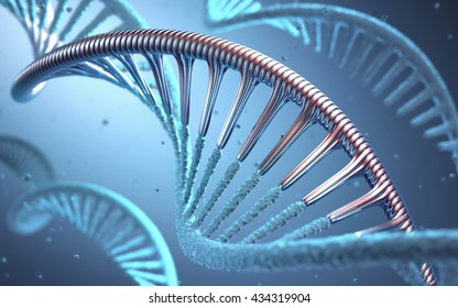 DNA. 3D illustration, concept of genetic engineering or genetic modification.