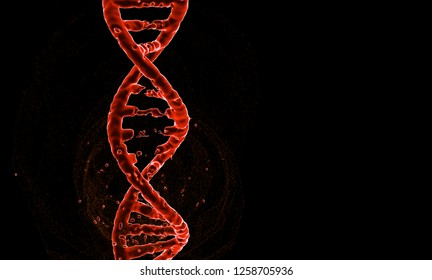 DNA. Abstract 3d polygonal wireframe DNA molecule helix spiral isolate on black background. Copy space left