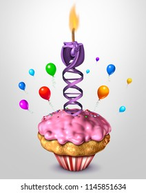 DNA aging science and health concept age reversal or human life longevity biology concept as a 3D render.