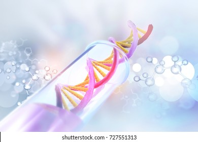 DNA cell on test tube with scientific  background. 3d illustration