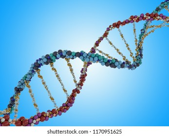 DNA chain. Abstract scientific background. Beautiful illustraion. Biotechnology, biochemistry, genetics and medicine concept .3D rendering