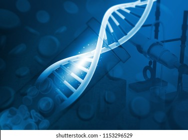 DNA in chemistry lab. DNA Research. 3d illustration