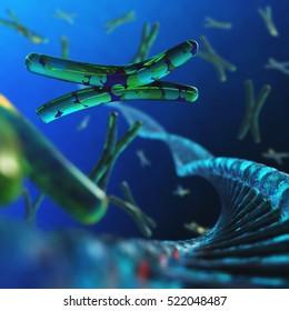 DNA. Chromosome. 3d rendering.