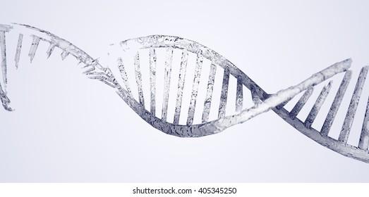 DNA damage, frozen. 3d illustration.