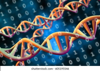 DNA Digital Data Storage Concept, 3D Rendering