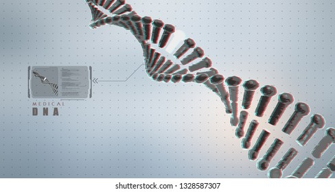 DNA digital structure with glitch effect. Science concept and nano technology background.