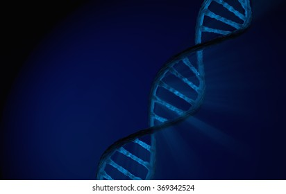 DNA Double helix, blue Detailed with blue background