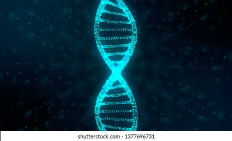 DNA double helix Gene therapy and genetic engineering of human genes for medical research - 3D render