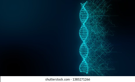 DNA double helix graphic illustration pharmaceutical research into genetic molecular biology - 3D render graphic