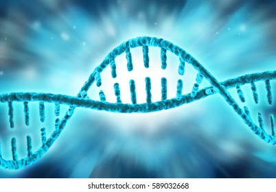 DNA double helix isolated on blue blurred background, 3d illustration