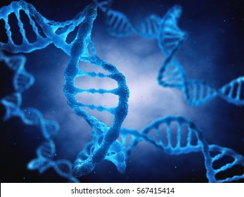 The DNA double helix molecule is the genetic blueprint for life , Molecular genetics , 3d illustration