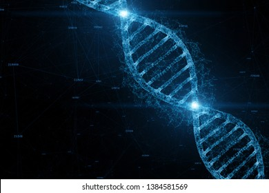 Dna double helix molecule on artistic blue coloured cyberspace. 3d illustration background.