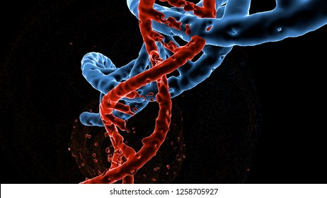 Dna double helix molecules and chromosomes , Gene mutation , Genetic code , 3d illustration